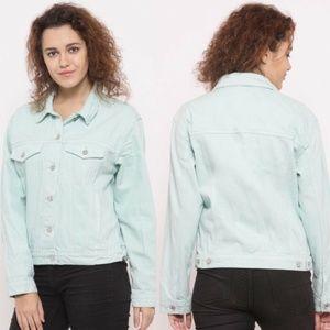 FOREVER 21 Denim Jean Jacket Mint Color Size S